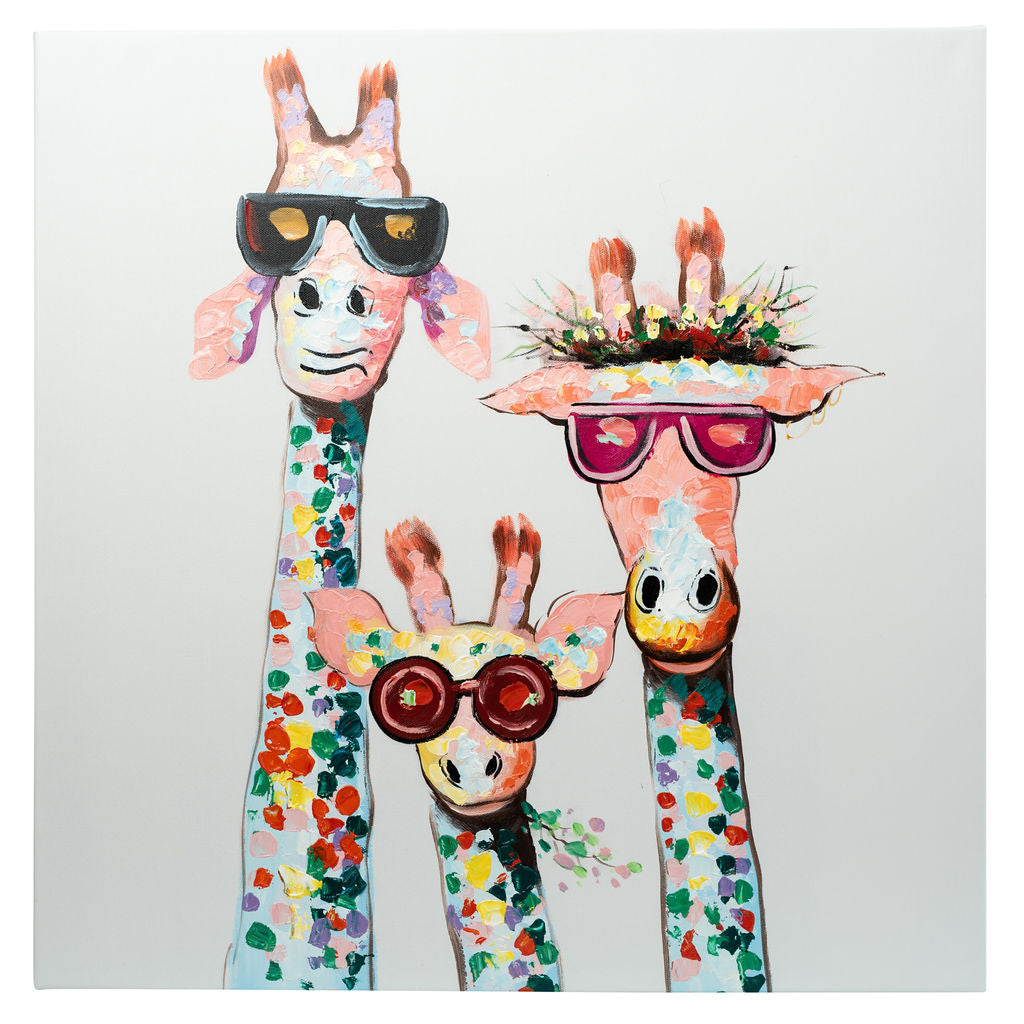 3 Cool Giraffes | Hand Painted Oil on Canvas | 60x60cm Framed
