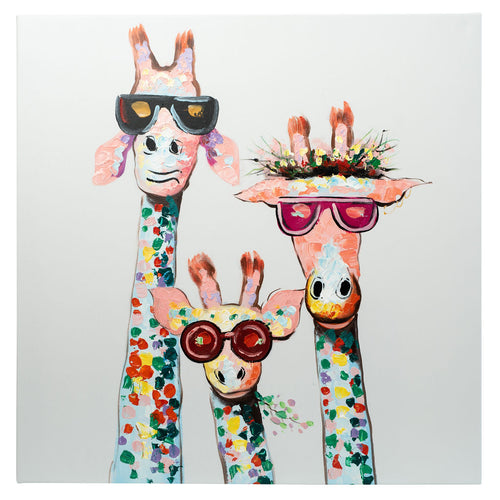 3 Cool Giraffes. Hand Painted Oil on Canvas. 60x60cm. Framed.