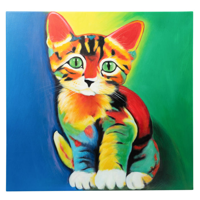 Dazzingly Colourful Kitten. 100% Hand Painted Oil on Canvas. 60x60cm. Framed