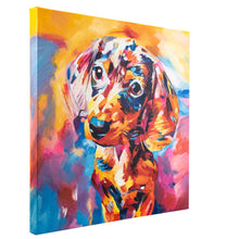 Load image into Gallery viewer, Dazzling Dachshund. Hand Painted Oil on Canvas. 60x60cm. Framed.
