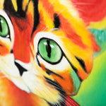 Load image into Gallery viewer, Dazzingly Colourful Kitten | Hand Painted Oil on Canvas | 60x60cm Framed