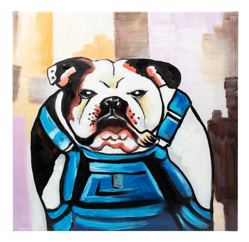 Grumpy Bulldog in Dungerees. Hand Painted. 60 x 60cm. Framed.