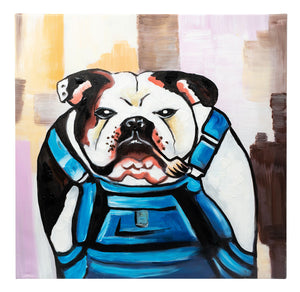 Grumpy Bulldog in Dungerees. Hand Painted. 60 x 60cm. 70% OFF! Framed.