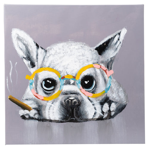Frenchie with Cigar. 100% Hand Painted Oil on Canvas. 48x48cm. Framed.