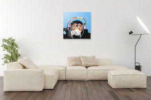 Cool Monkey with Headphones | Hand painted oil on Canvas | 60x60cm Framed.