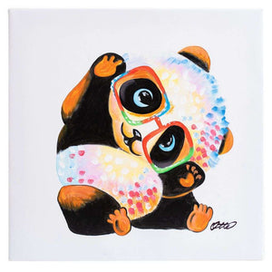 Baby Panda in Glasses. Hand painted oil on canvas. Various sizes. Framed