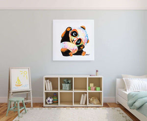 Baby Panda in Glasses. 100% hand painted oil on canvas. Various sizes. Framed