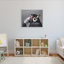 Load image into Gallery viewer, Thinking musical Monkey. 100% hand painted oil on canvas. Framed - Fun Animal Art