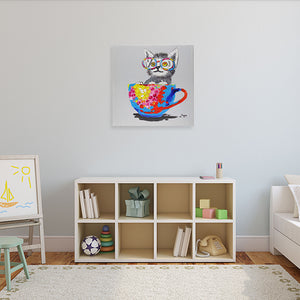 Cat in a tea cup. 100% hand painted oil on canvas. Framed - Fun Animal Art