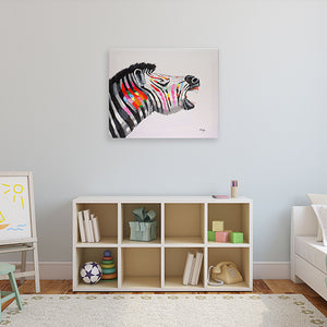 Colourful Zebra. 100% hand painted oil on canvas. Framed - Fun Animal Art