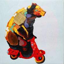 Load image into Gallery viewer, Brown Bear on Vespa. 100% hand painted oil on canvas. 48x48cm. Framed