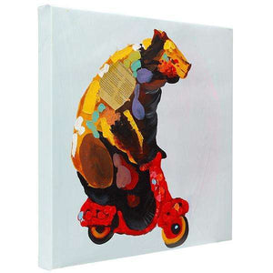Brown Bear on Vespa | Hand painted oil on canvas | 48x48cm. Framed.