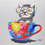 Load image into Gallery viewer, Cat in a tea cup. 100% hand painted oil on canvas. Framed - Fun Animal Art