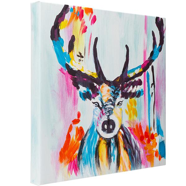 Colourful Stag. 100% hand painted oil on canvas. Framed - Fun Animal Art