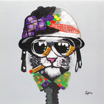 Load image into Gallery viewer, Cool dude cat with sunglasses. 100% hand painted oil on canvas. Framed - Fun Animal Art
