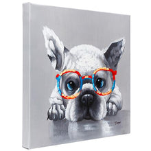 Load image into Gallery viewer, Cute French Bulldog with glasses. 100% hand painted oil on canvas. Framed - Fun Animal Art