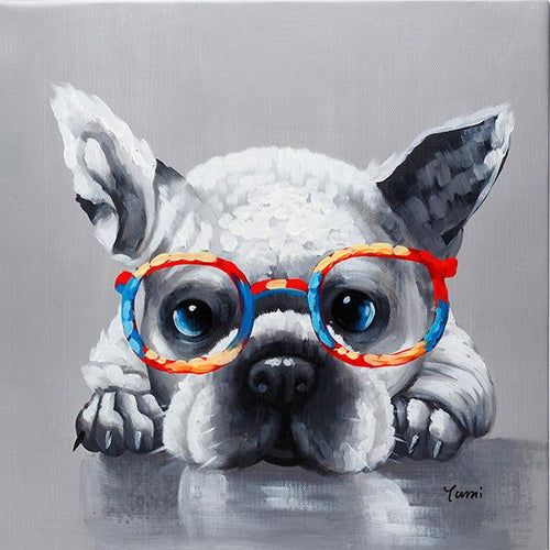 Cute French Bulldog with glasses. 100% hand painted oil on canvas. Framed - Fun Animal Art