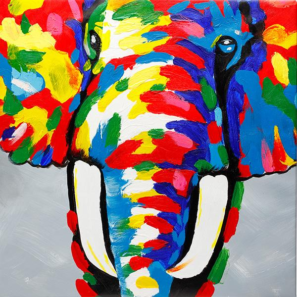 Dazzling Elephant. 100% hand painted oil on canvas. Framed - Fun Animal Art
