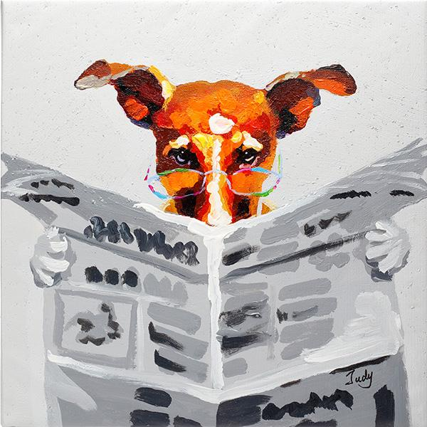 Dog reading newspaper. 100% hand painted oil on canvas. Framed - Fun Animal Art