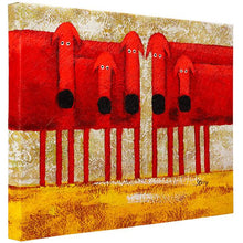 Load image into Gallery viewer, Five quizzical staring red dogs. 100% hand painted oil on canvas. Framed - Fun Animal Art