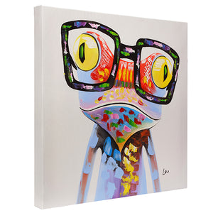Frog with glasses. 100% hand painted oil on canvas. Framed - Fun Animal Art