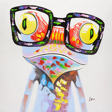 Load image into Gallery viewer, Frog with glasses. 100% hand painted oil on canvas. Framed - Fun Animal Art