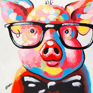 Pig in glasses with bow tie. 100% hand painted oil on canvas. Framed - Fun Animal Art