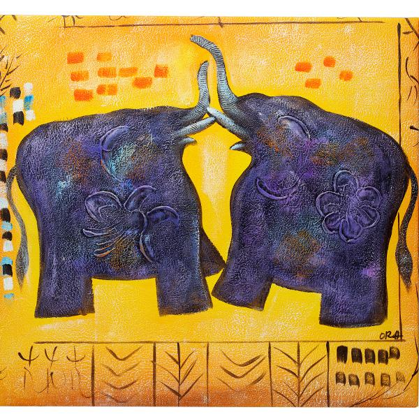 Playing Elephants. 100% hand painted oil on canvas. Framed - Fun Animal Art