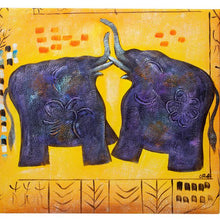 Load image into Gallery viewer, Playing Elephants. 100% hand painted oil on canvas. Framed - Fun Animal Art