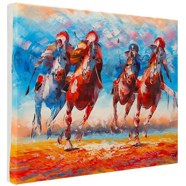 Polo playing running horses. 100% hand painted oil on canvas. Framed - Fun Animal Art