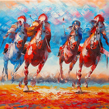 Load image into Gallery viewer, Polo playing running horses. 100% hand painted oil on canvas. Framed - Fun Animal Art