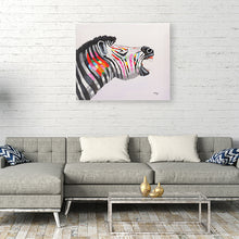 Load image into Gallery viewer, Colourful Zebra. 100% hand painted oil on canvas. Framed - Fun Animal Art