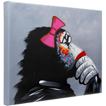 Load image into Gallery viewer, Thinking monkey girl. 100% hand painted oil on canvas. Framed - Fun Animal Art