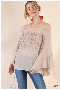 Off the Shoulder Floral Lace Bell Sleeve Blouse