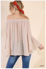 Load image into Gallery viewer, Off the Shoulder Floral Lace Bell Sleeve Blouse