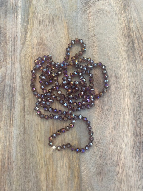 Bronze and Purple Iridescent Crystal Bead Necklace