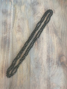Dark Olive Crystal Bead Necklace