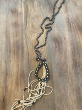 Load image into Gallery viewer, Gray Bead Necklace with Jewel and Leather Detail