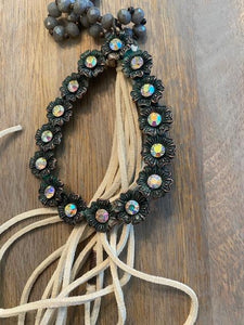 Gray Bead Necklace with Jewel and Leather Detail