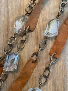 Long Leather and Crystal Double Necklace