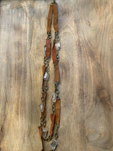 Load image into Gallery viewer, Long Leather and Crystal Double Necklace