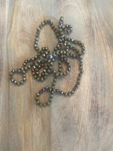 Olive and Bronze Crystal Bead Necklace