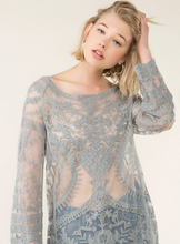 Load image into Gallery viewer, Gray Sheer Lace Top