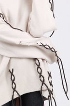 Load image into Gallery viewer, POL Beige Sweater with Lacing Accents