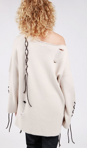 POL Beige Sweater with Lacing Accents