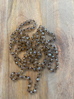 Pale Amber Iridescent Crystal Bead Necklace