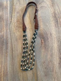 Crystal Bead and Leather Necklace