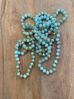 Turquoise and Silver Iridescent Crystal Bead Necklace