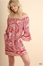Load image into Gallery viewer, Umgee Red and White Print Off the Shoulder Dress