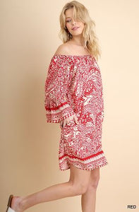 Umgee Red and White Print Off the Shoulder Dress
